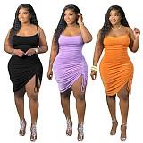 Solid Color Sleeveless Irregular Drawstring Women Midi Dress HEJ-6049