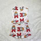 Women's Cartoon Letter Print Halter Vest Lazy Two-Piece Set SHD-9482