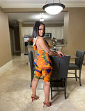 Women's Tie-Dye Printed Sleevless Bodycon High Waist Romper OY-6275
