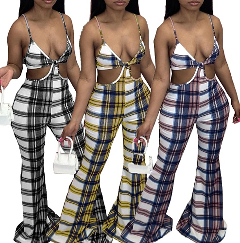 Plaid Printed V Neck Cut Out Sleeveless Flared Halter Jumpsuits NM-8348