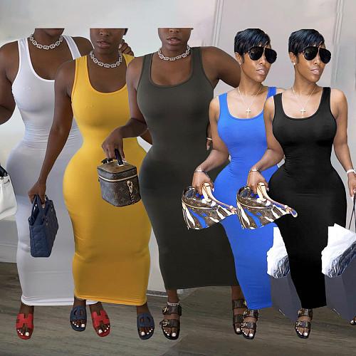 Women Solid Color U-Neck Sleeveless Bodycon Long Dress KSN-8077