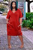Solid Color V Neck Short Sleeve Loose-fitting Midi Dress TK-6153