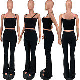 Womens Solid Color Halter Crop Top Flare Pants Skinny 2 Pieces LQ-017