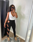 Women Sleeveless Stitching Color High Waist Bodycon Jumpsuit MOY-8507