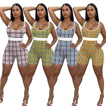 Summer Sleeveless Plaid Print High Waist Bodycon Rompers MEM-8346