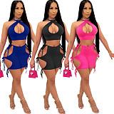Solid Color Cut Out Bandage Mini Skirts Crop Top 2pcs Matching Set MYP-8966