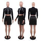 Women's Zipper Stitching Irregular Hip Wrap High Waist Mini Skirt CHY-1281