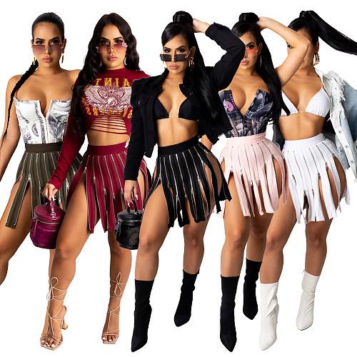 Women's Zipper Stitching Irregular Hip Wrap High Waist Mini Skirt CHY-1281
