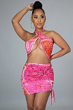 Hot Style Paisley Print Cut Out Drawstring Criss Cross Halter Dress MIL-221