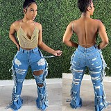 Women Vintage High Waist Ripped Tassel Hole Pencil Pants Jeans OD-8436