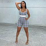 Summer Sleeveless Plaid Print High Waist Bodycon Rompers MEM-8346