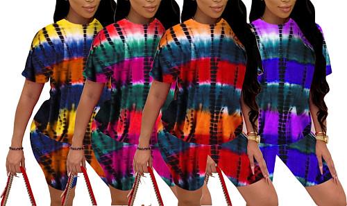 Tie-dye Print Short Sleeve Round Neck Top Shorts 2 Piece Set MUM-8085