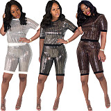 Sequins Patchwork Short Sleeve T-shirt Shorts Two Piece Outfits MA-158