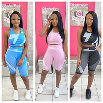 Breathable Yoga Vest Knee-length Shorts Fitness 2 Piece Set NIYA-8046