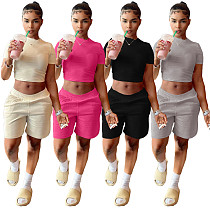 Solid Color Cropped T-shirt Stretch Shorts Two Piece Outfits NIYA-8047
