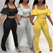 Sexy Solid Color Off Shoulder Short Sleeve Top Pants 2 Piece Set SQ-949