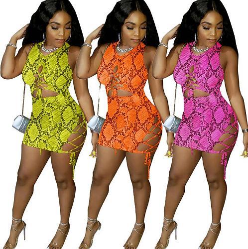 Fashion Snakeskin Prints Sexy Hollow Out Mini Bandage Dress YN-9093