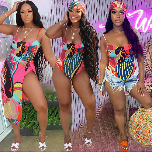Sexy Hollow Out Bodysuit+Cover Up Swimwear Two Piece Set BGN-159