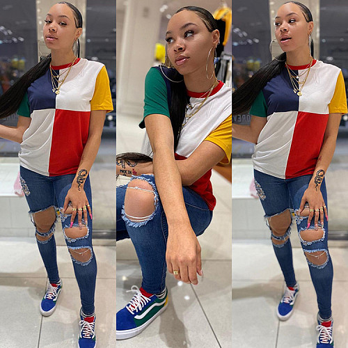 Fashion Color Block Stitching Round Neck Short Sleeve T-shirt GLS-8099