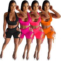 Women Hollow Out Bandage Shorts Cropped Vest 2 Piece Set MUL-166