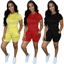 Solid Cotton Short-sleeved T-shirt Shorts Two Piece Outfits MN-9289