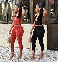 Women Solid Color Bra Crop Top Leggings Pleated 2 Piece Set AWY-721