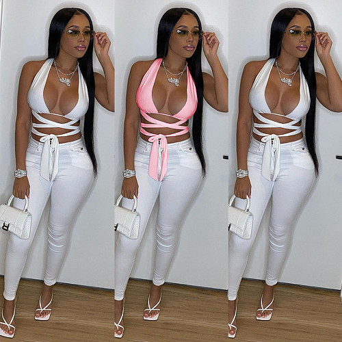 Solid Color Sexy Sleeveless Wrapped Chest Vest Tank Top GLS-8095