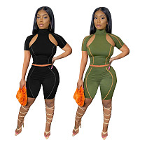 Solid Color Short Sleeve Cut Out Top Sport Shorts 2 Piece Set AWY-717