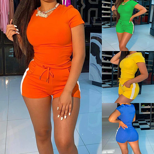 Hot Style Short Sleeve T-shirt Lace-up Shorts 2 Piece Set BNY-7158