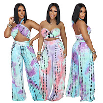 Tie-dye Print Strapless Crop Top Wide-leg Pants 2 Piece Outfit PN-6677