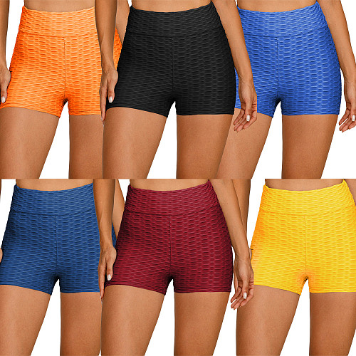 Women's Solid Color High Waist Sports Yoga Leggings Shorts SH-390086