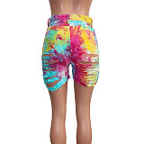 Hot Style Cut Hollowed-out Tie-dye Printed Denim Shorts SH-3846