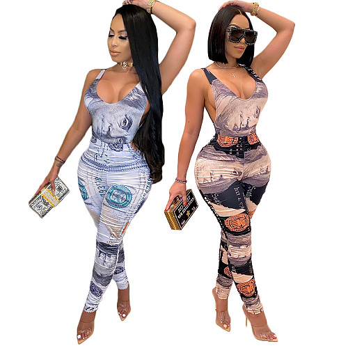 Money Dollar Print Bodysuits Pencil Pants 2 Piece Club Outfits DY-6650