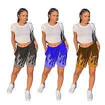 Fashion Print Drawstring Elastic Waist With Pocket Sport Shorts WXY-8839