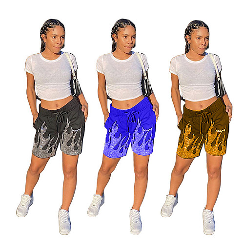 Fashion Print Drawstring Elastic Waist With Pocket Sport Shorts WXY-8839