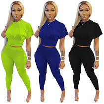 Slim Waisted Short-sleeved T-shirt Leggings Two Piece Outfits DM-8170