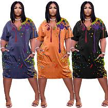 Muliticolor Splash Ink Printed V Neck Short Sleeve Midi Dresses NIYA-8048