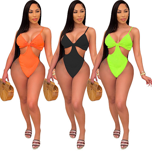 Sexy High Cut Swimsuits Hollow Out String One Piece Swimwear HMS-5445