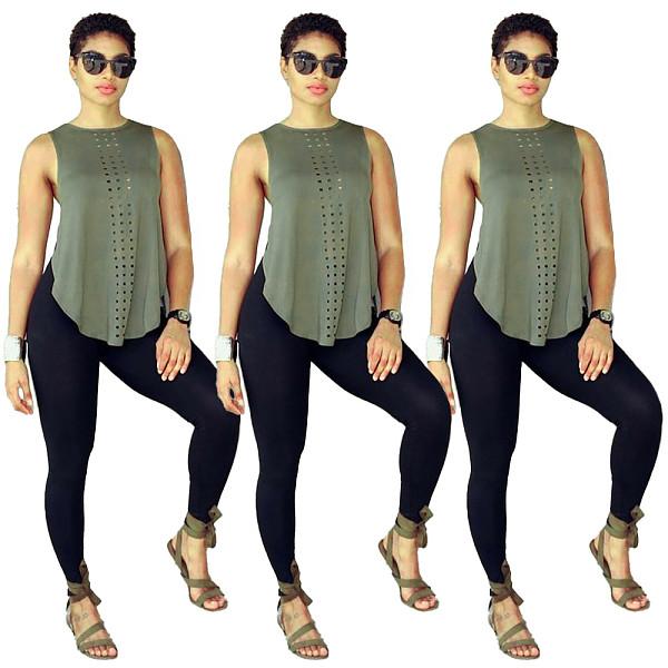 Sleeveless Breathable Vest Yoga Leggings Sport Two Piece Set RUM-8915