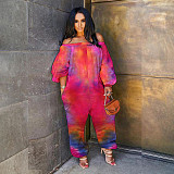 Tie Dye Printed Off Shoulder Long Sleeve Loose Fitting Jumpsuit BER-8069