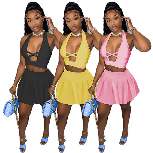 Hot Sales Hollow Out Crop Top Pleated Mini Skirt 2 Piece Set XY-9096