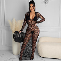Women Sexy Long Sleeve Bodycon Mesh See Through Long Dress LUO-6417