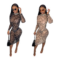 Hot Sales Print Gauze See-through Long-sleeved Skinny Dress LUO-6419