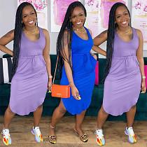 Sexy Solid Color Sleeveless V-neck Elastic-waisted Irregular Dress YFS-3695