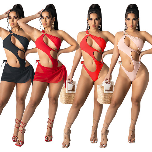 Sexy One Piece Swimwear+Cover Up Skirt Two Piece Swimsuit YIY-5275