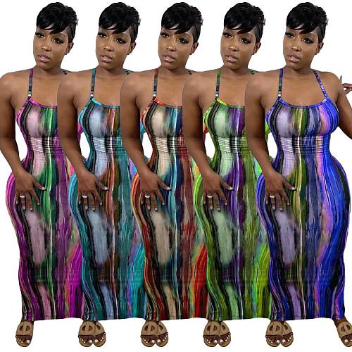 Tie Dye Print Women Strap Sleeveless Bodycon Long Dress NIYA-8056