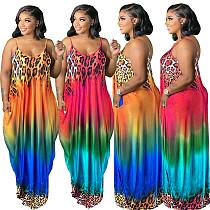 Women's Leopard Print Gradual Positioning Print Loose Halter Dress WXY-8845