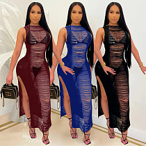 Summer Solid Color Sleeveless O Neck Bodycon Ripped Dress CQ-115