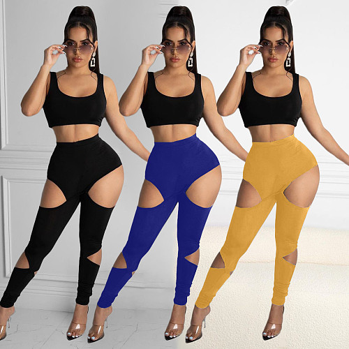 Solid Color High Waist Women Ripped Skinny Leggings Pants MOY-8510