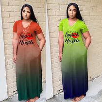 Gradient Color Letter Print Short Sleeved V-neck Loose-fitting Dress HZM-7176
